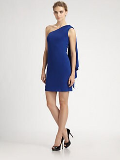 Badgley Mischka - Jersey Shoulder-Drape Dress