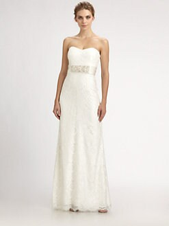Badgley Mischka - Strapless Lace Gown