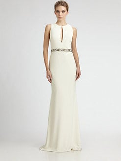 Badgley Mischka - Crepe Keyhole Gown