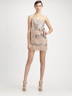 Mark + James by Badgley Mischka - Sequined Tulle Ruffle Strapless Mini Dress