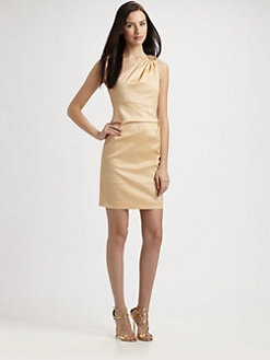 Badgley Mischka - One Shoulder Stretch Taffeta Cocktail Dress
