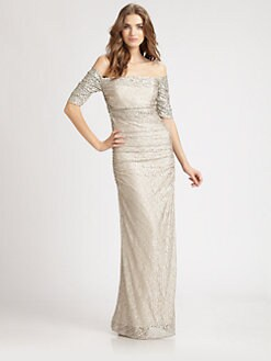 Badgley Mischka - Off-The-Shoulder Lace Gown