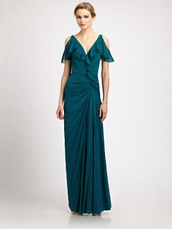 Badgley Mischka - Silk Ruffle Gown