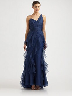 Badgley Mischka - One-Shoulder Chiffon Gown