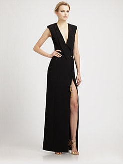 Badgley Mischka - Tassle Tie Crepe Gown