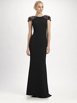 Badgley Mischka - Beaded Silk Gown