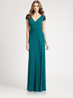 Badgley Mischka - Beaded Cap-Sleeve Gown