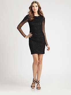 Badgley Mischka - Sequined Tulle Dress