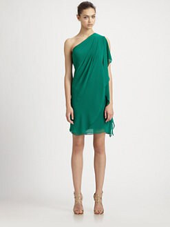 Badgley Mischka - One-Shoulder Caftan Dress