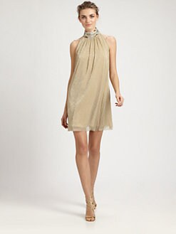 Badgley Mischka - Beaded Trapeze Dress
