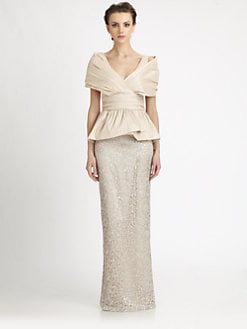 Badgley Mischka - Taffeta/Lace Peplum Gown