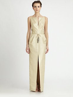 Badgley Mischka - Metallic Lace-Up Gown