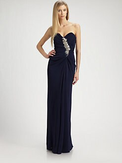 Badgley Mischka - Strapless Jersey Gown