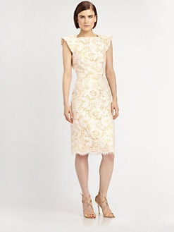 Badgley Mischka - Bow-Back Lace Dress