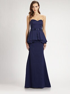 Badgley Mischka - Strapless Peplum Gown