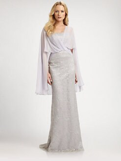Badgley Mischka - Lace Cape Gown