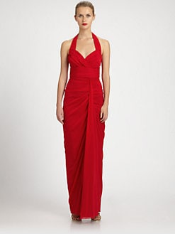 Badgley Mischka - Ruched Stretch Silk Chiffon Halter Gown