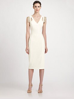 Badgley Mischka - Beaded Cap-Sleeve Dress