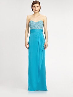 Badgley Mischka - Silk Sequined Bodice Gown