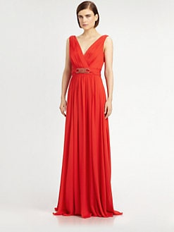 Badgley Mischka - Silk Beaded Belt Gown