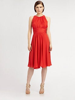 Badgley Mischka - Gathered Silk Dress