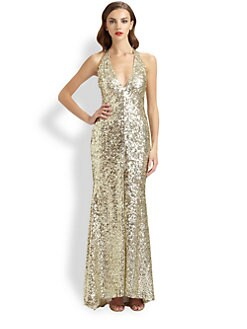 Mark + James by Badgley Mischka - Sequined Halter Gown