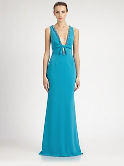 Mark + James by Badgley Mischka - Beaded Bow Gown