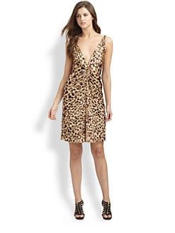 Badgley Mischka - Silk Leopard Print Dress