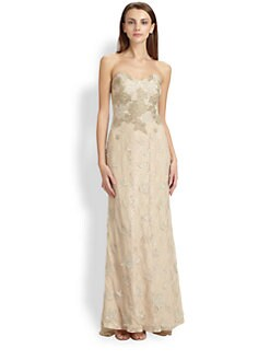 Badgley Mischka - Strapless Metallic Lace Gown