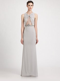 Badgley Mischka - Jeweled Lace Inset Dress