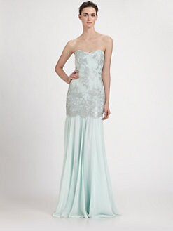 Badgley Mischka - Lace Overlay Gown
