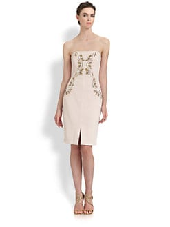 Badgley Mischka - Beaded Strapless Dress