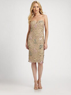 Badgley Mischka - Strapless Sequin Dress