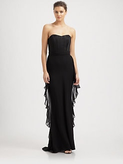 Badgley Mischka - Strapless Silk Bustier Gown