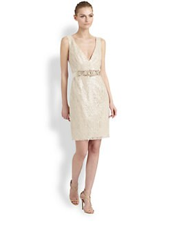 Badgley Mischka - Sequined Lace Dress