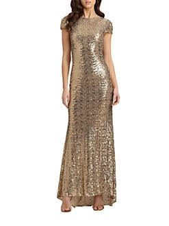 Badgley Mischka - Cowlback Sequined Gown