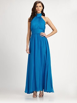 Badgley Mischka - Silk Draped-Back Halter Dress