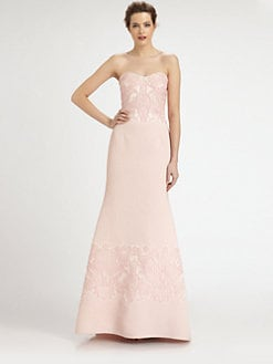 Badgley Mischka - Strapless Embroidered Gown