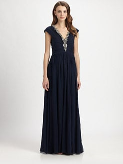 Badgley Mischka - Silk Chiffon Beaded-Neck Gown