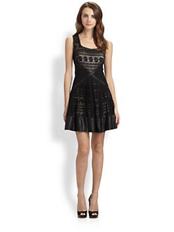 Badgley Mischka - Leather-Trimmed Lace Dress