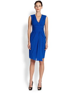 Badgley Mischka - Draped Stretch Silk Dress