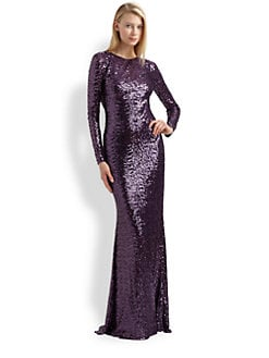 Badgley Mischka - Sequined Cowl Back Gown