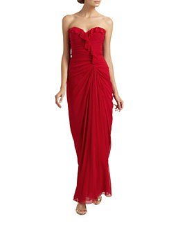 Badgley Mischka - Strapless Silk Gown