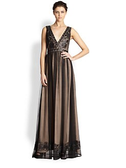 Mark + James by Badgley Mischka - Beaded V-Neck Gown