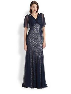 Badgley Mischka - Sequined Silk Chiffon Gown