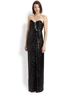 Badgley Mischka - Strapless Sequined Gown
