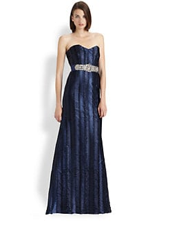 Badgley Mischka - Strapless Satin Gown