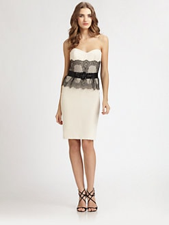 Badgley Mischka - Lace-Trimmed Strapless Dress