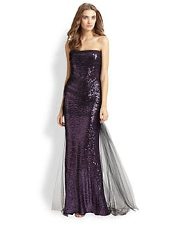 Badgley Mischka - Sequined Tulle Gown
