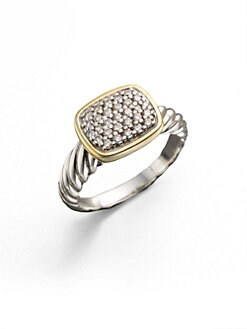 David Yurman - Diamond, Sterling Silver & 18K Yellow Gold Ring